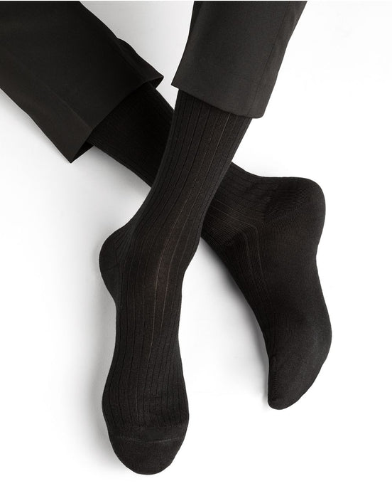 Bleuforêt Men's Ribbed Cashmere, Wool & Silk Socks - CdFAurora