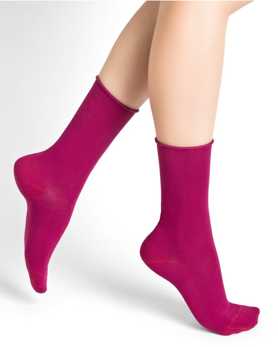 Bleuforêt Women's Fushia Roll Top Cotton Socks - CdFAurora