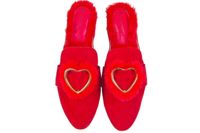 Jacques Levine Hope Suede Faux Fur Slippers