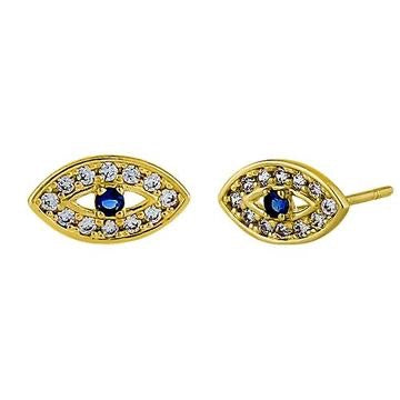 Good Vibes Evil Eye  Stud Earrings | 14K Gold