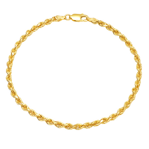 Rope Chain Bracelet 3MM - 14K Solid Yellow Gold