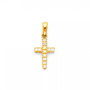 Small CZ Stone 14k Solid Yellow Gold Pendant Necklace