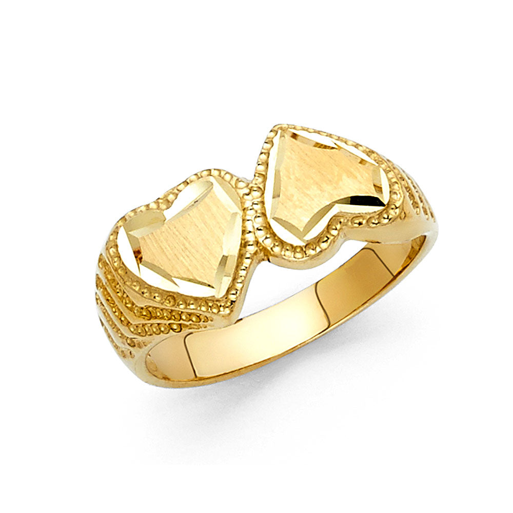 14K Gold Double Heart Ring