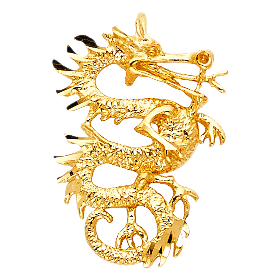 Dragon Pendant - 14K Solid Yellow Gold