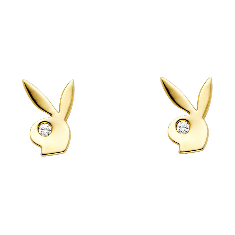 Playboy Bunny Earrings - 14K Solid Yellow Gold