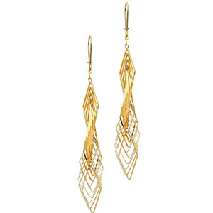 14K Solid Yellow Gold Twisted Layer Hanging Drop Earrings