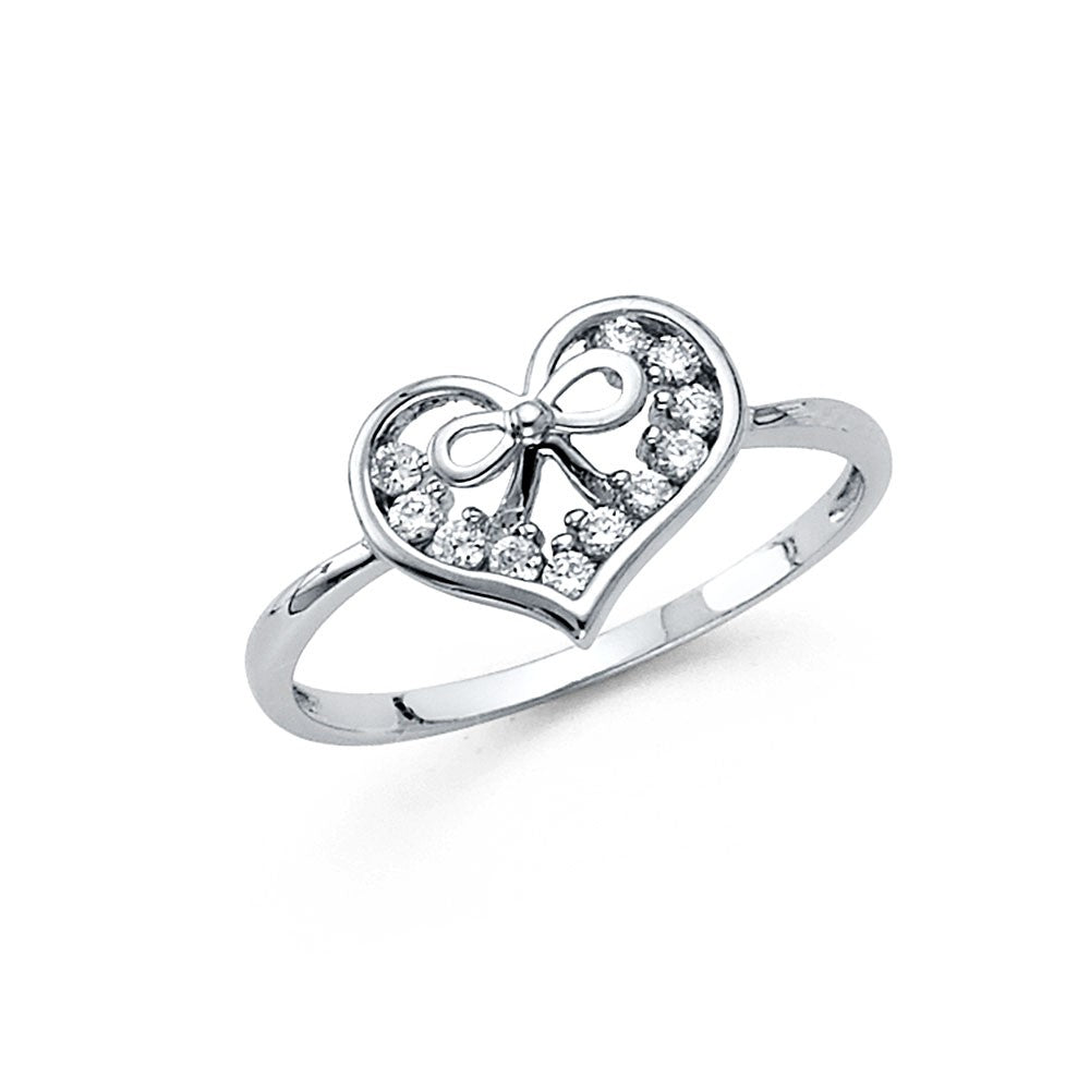 14K Solid White Gold Bow Heart Cubic Zirconia Ring