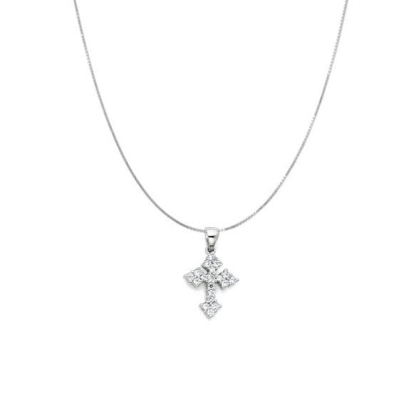 14K White Gold Cubic Zirconia Gothic Cross Pendant Necklace