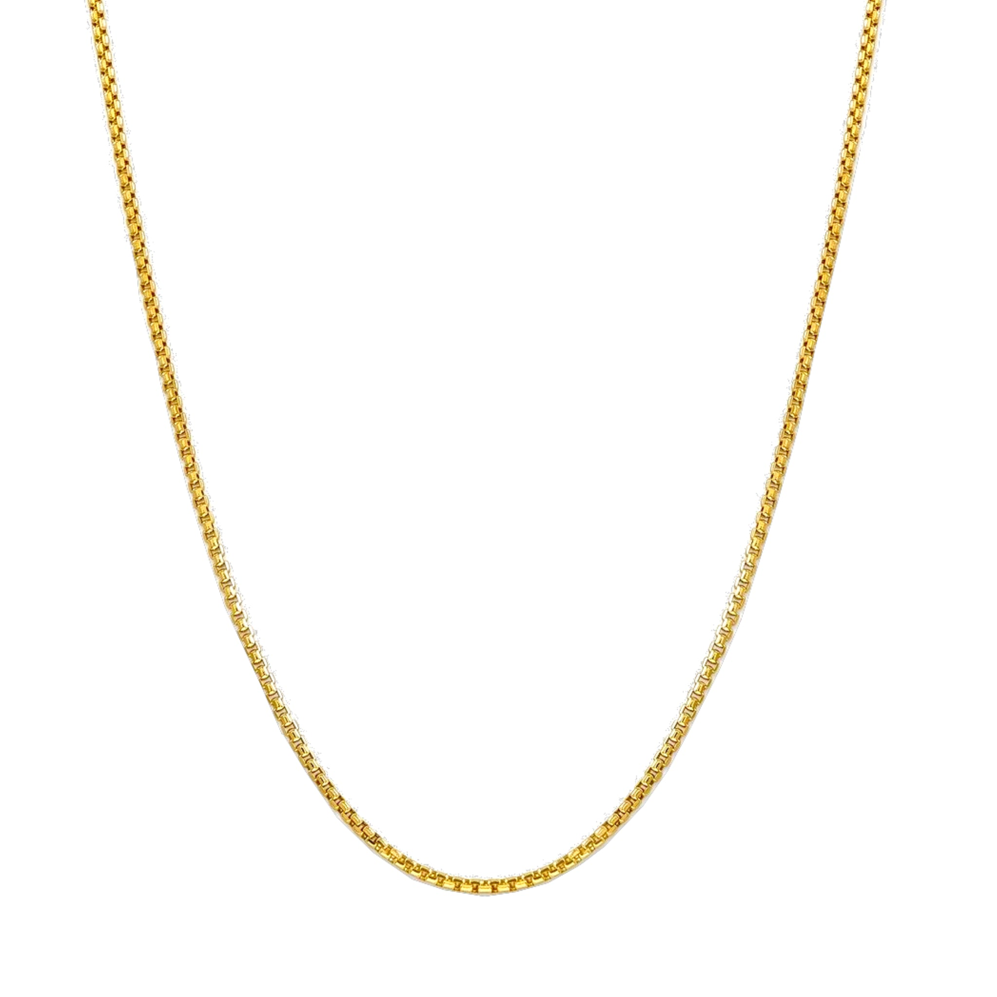 Elegant Gold Box Chain 2MM - 14K Solid Yellow Gold