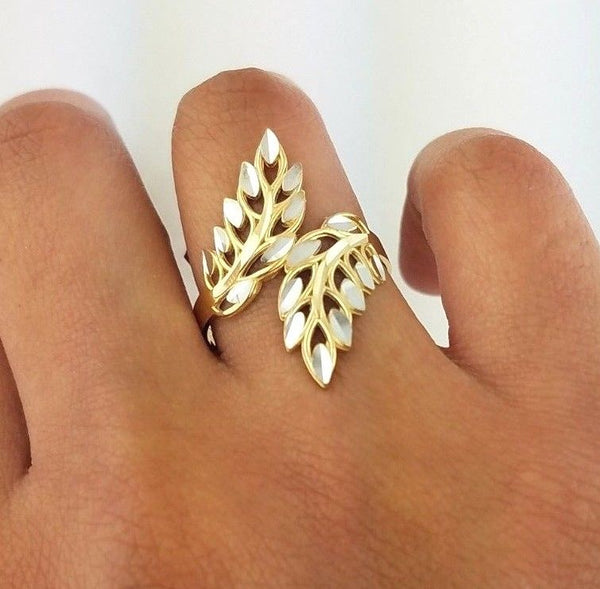 14K Gold Feather Leaf Two Tone Ring