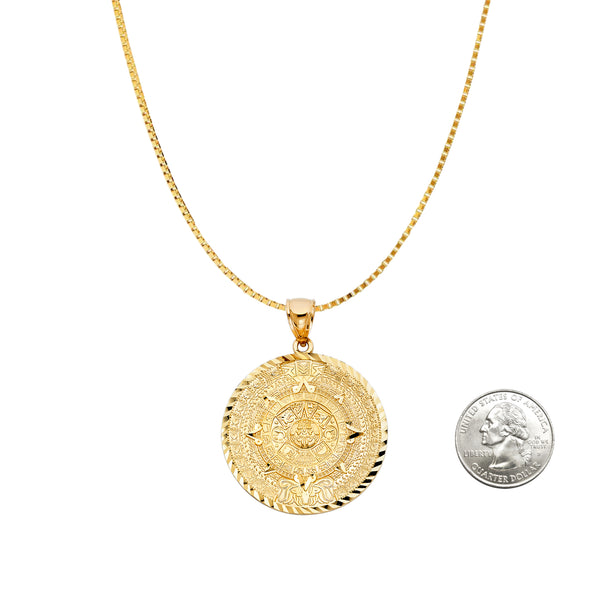 14K Gold Aztec Pendant Medallion Chain Necklace