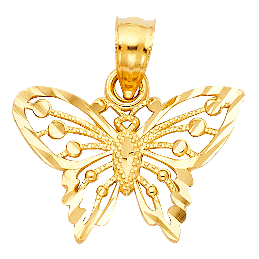 Butterfly Pendant - 14K Solid Yellow Gold