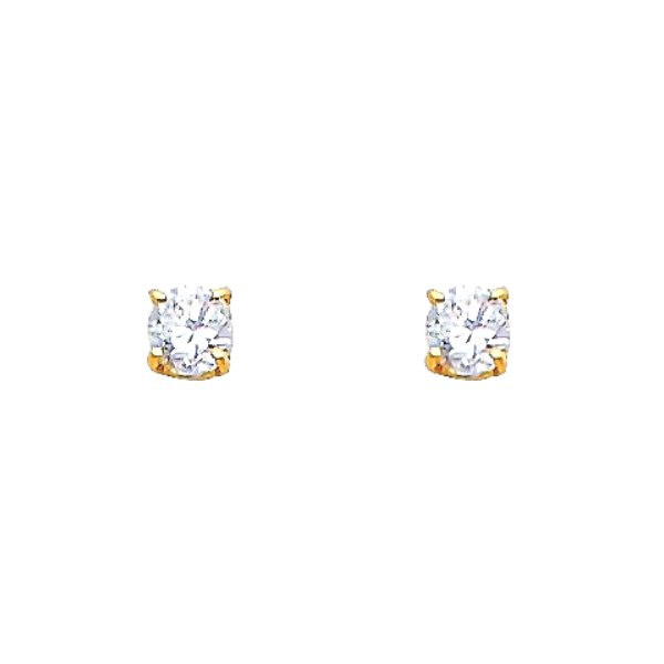 14k solid gold cz stone earrings