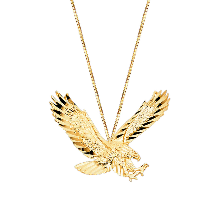14K Solid Yellow Gold Eagle Charm Pendant