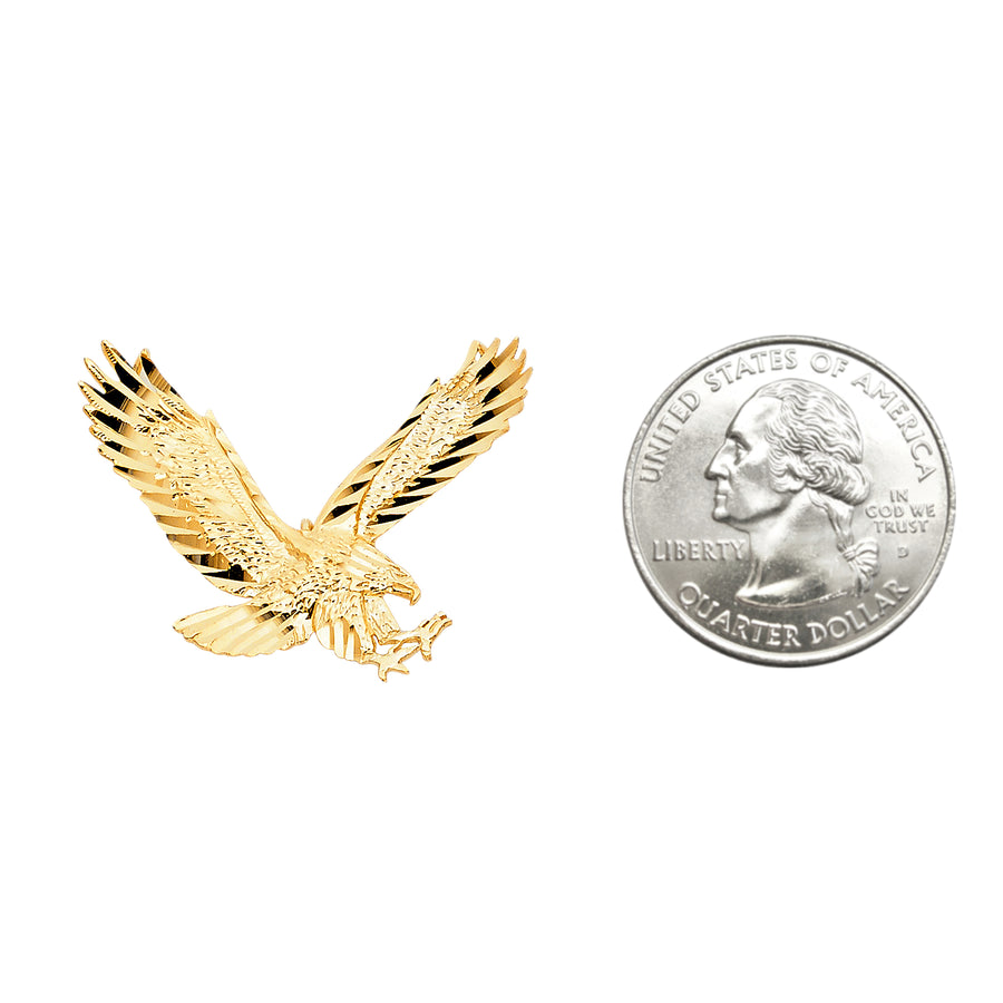 Eagle 14K Solid Yellow Gold Charm Pendant