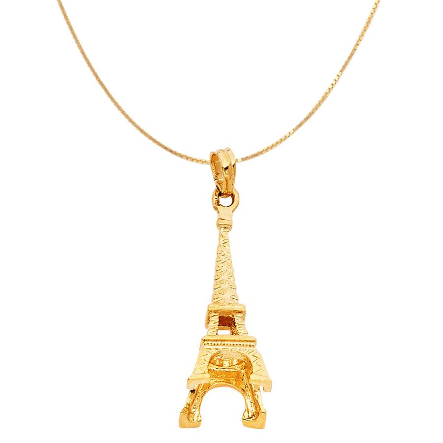 14K Yellow Paris Eiffel Tower Gold Charm Pendant Necklace
