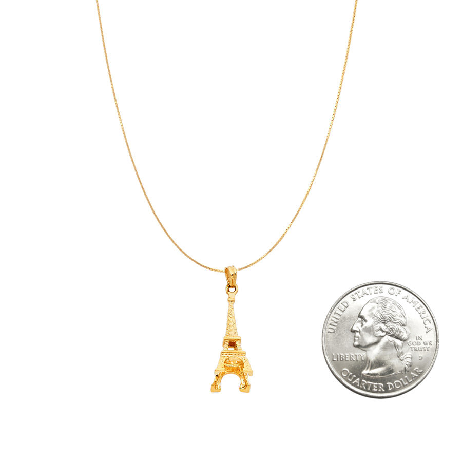 14K Gold Eiffel Tower Pendant Necklace