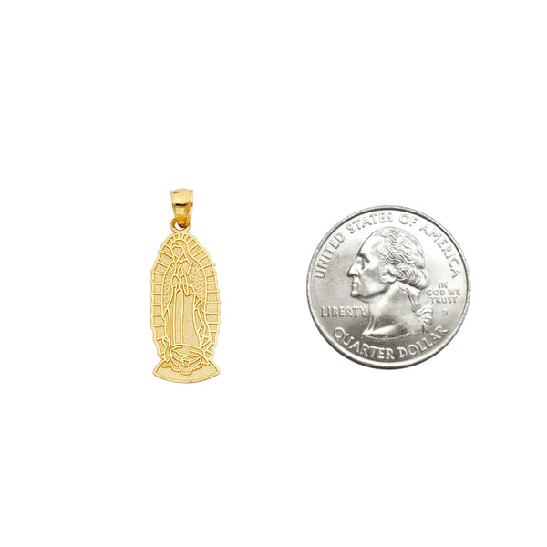 Guadalupe Medal Pendant 14k Yellow Gold Religious Jewelry