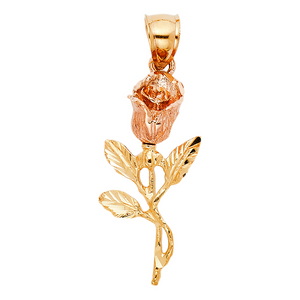 This beautiful Rose Pendant Has been crafted from 14k Yellow Gold.