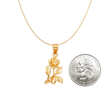 Load image into Gallery viewer, Fully Blossomed Rose Pendant - 14K Solid Yellow Gold