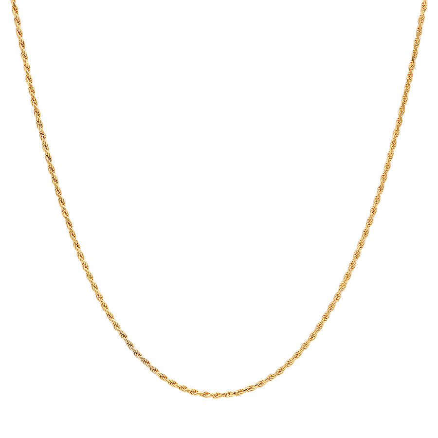 Rope Chain Necklace 1.5mm - 14K Solid Yellow Gold