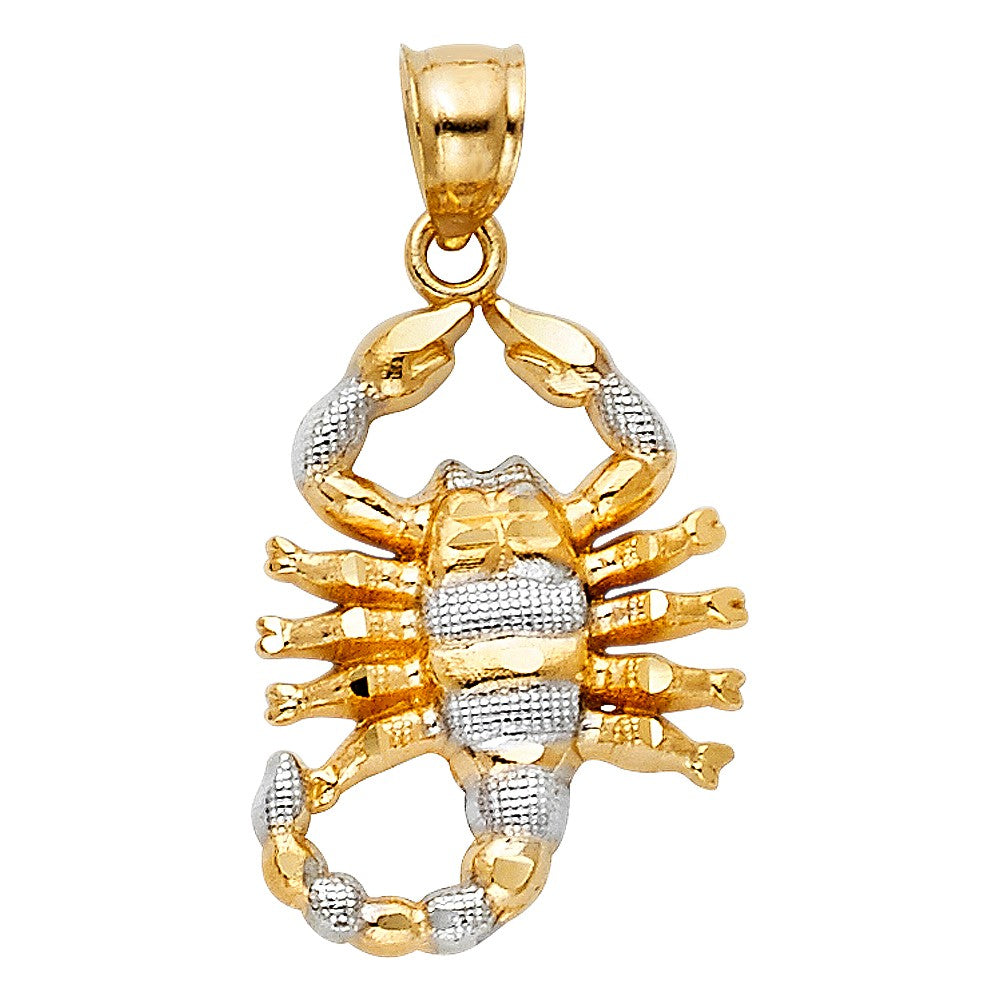 Gold Small Scorpion Pendant - 14K Gold Two Tone