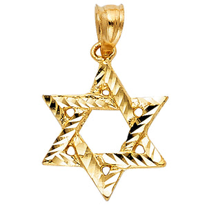 14K Yellow Gold Star Of David Charm Pendant Necklace