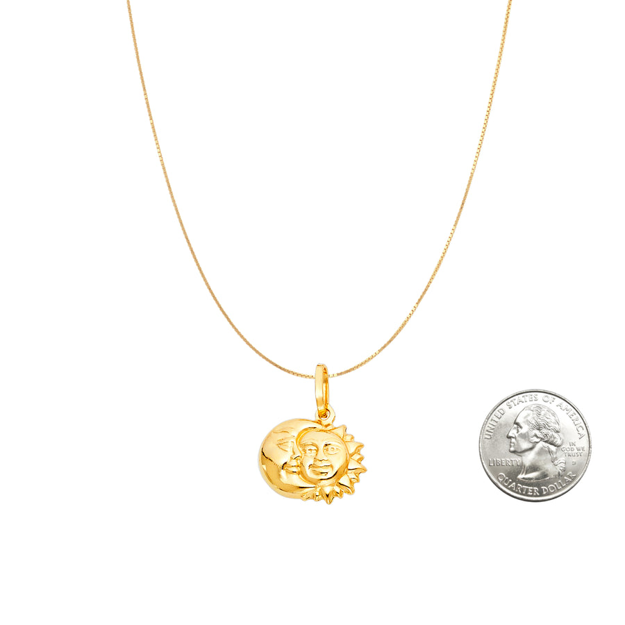 Sun and Moon Charm Pendant 14K Gold Necklace