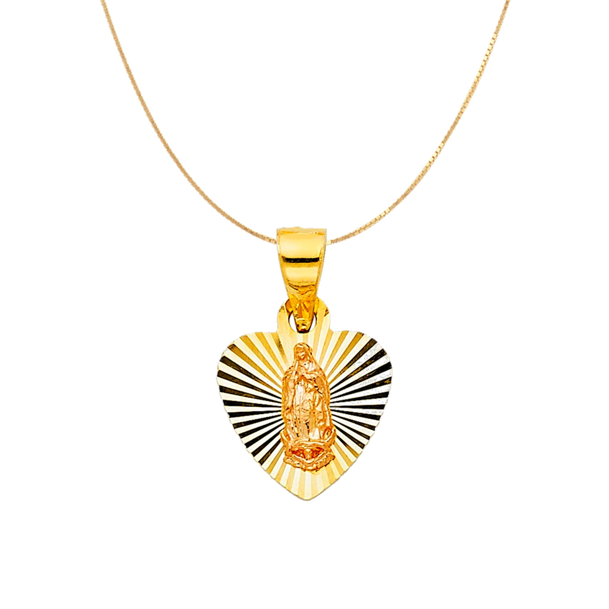 14K Gold Virgin Mary Heart Necklace