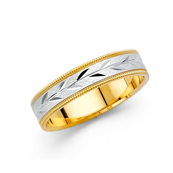 Men's Two Tone Wedding Band 5MM - 14K Solid Yellow Gold