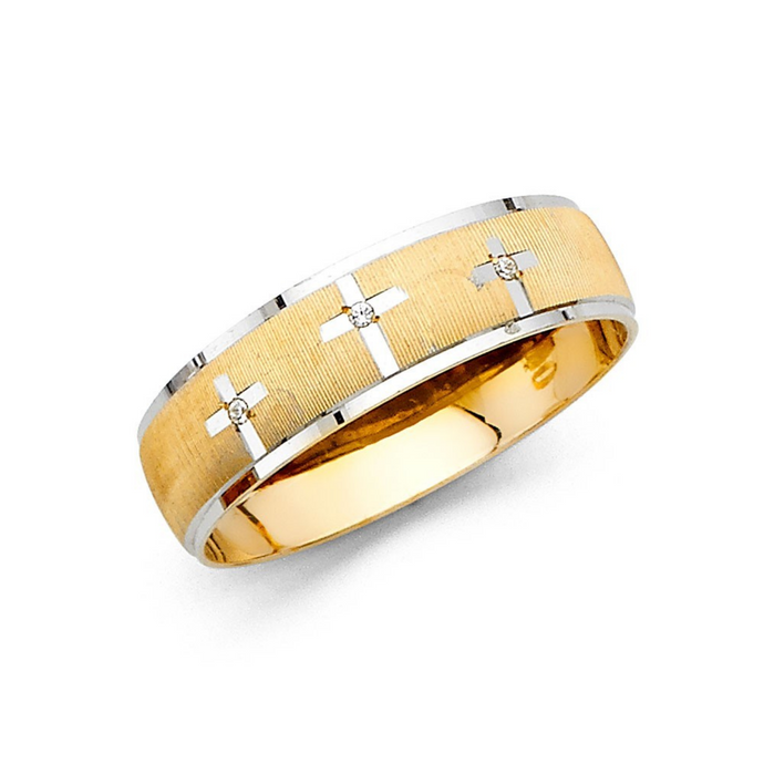Religious Two Tone Cross 14K Solid Gold Men's Wedding Band Ring