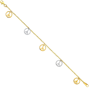 14k Gold Peace Sign Bracelet