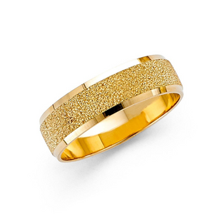 Men's Sandblasted 14K Yellow Gold Wedding Band Ring
