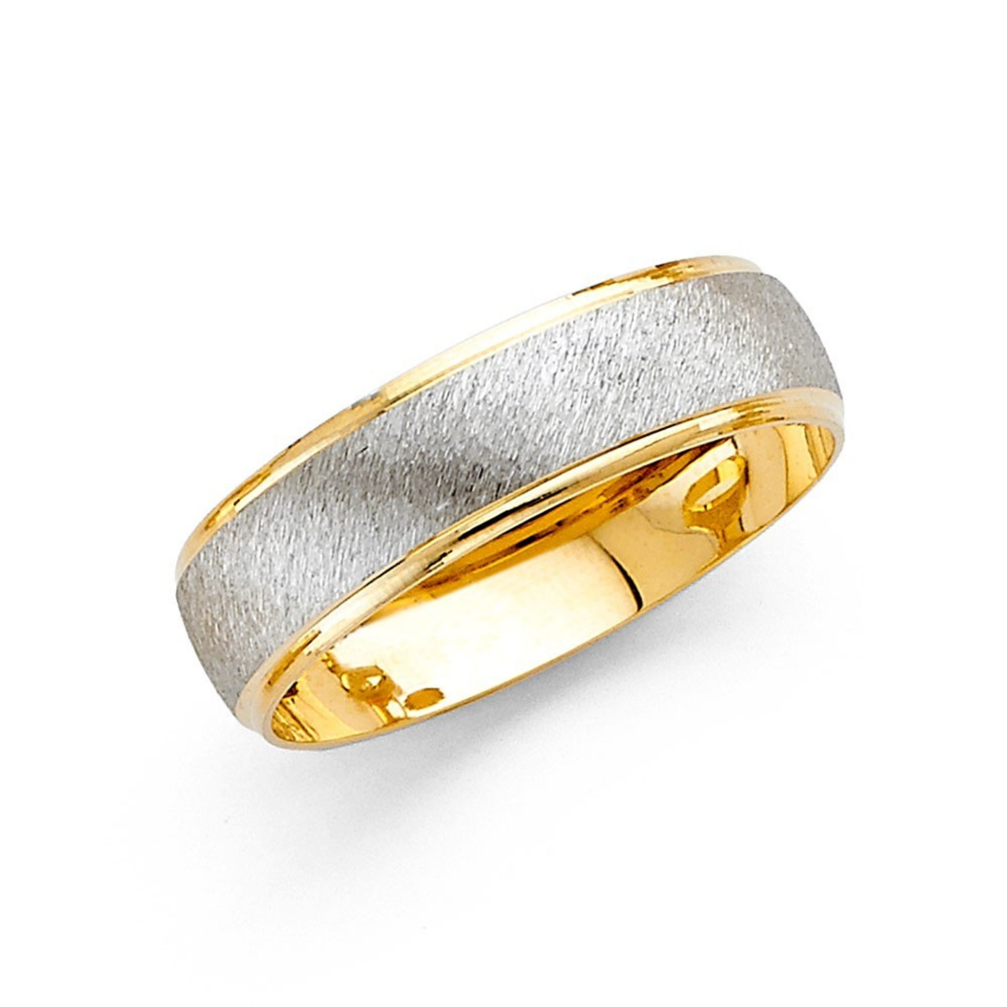 Sand Blasted Men's Wedding Band 6MM - 14K Two Tone Gold