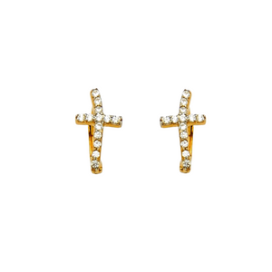 Cross Hoop Huggie Earrings