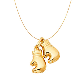 14k Gold Boxing Glove Gold Chain Pendant