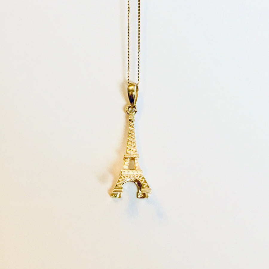 14K Yellow Gold Eiffel Tower Pendant Charm