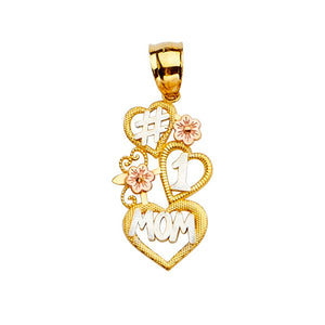 Number 1 Mom Heart Pendant