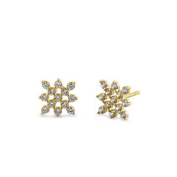 Checkered Pattern CZ Stone Earrings - 14K Gold