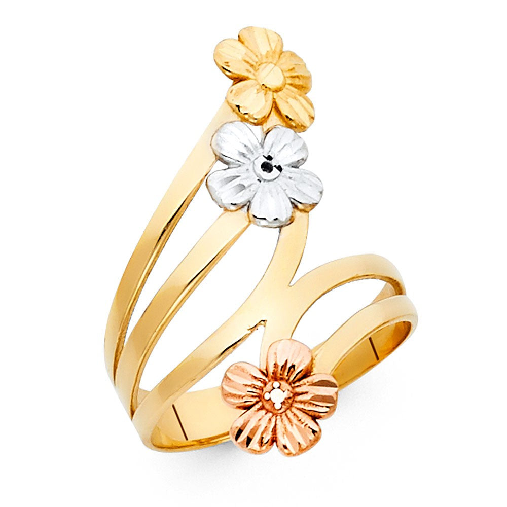 Multi Tone 14K Solid Gold Flowers Ring