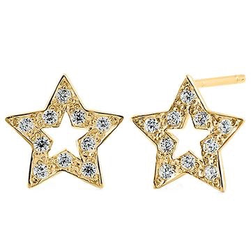 Wish Upon A Star CZ Stone Earrings | 14K Gold