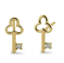 Antique Key CZ Stone Earrings | 14K Gold