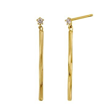 Minimal Bar CZ Stone Dangle Earrings | 14K Gold