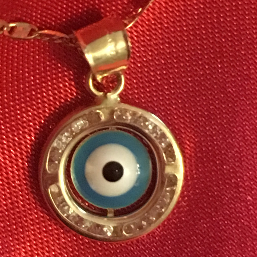 14K Solid Gold Evil Eye Pendant