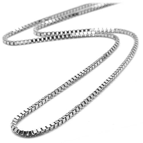 Sil's Simple White Box Chain - 14KT White Gold 0.5mm