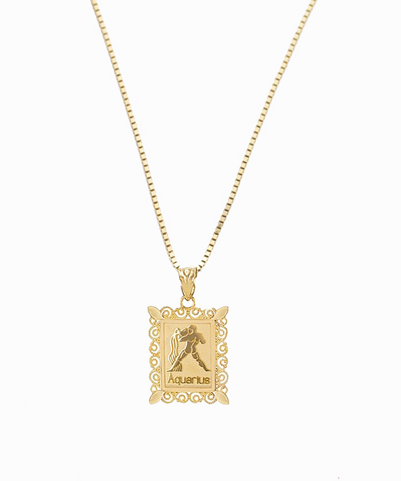Aquarius Birthday Pendant | 10K Gold & 14K Gold
