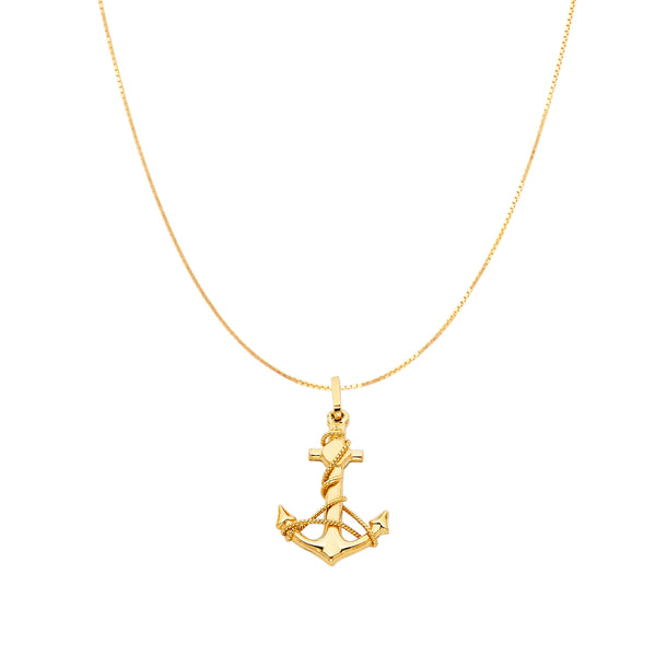 Anchor Pendant 14K Gold Chain