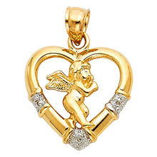 Load image into Gallery viewer, Angel Heart Pendant - 14K Solid Yellow Gold