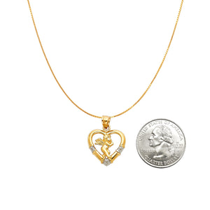Angel Heart Pendant - 14K Solid Yellow Gold