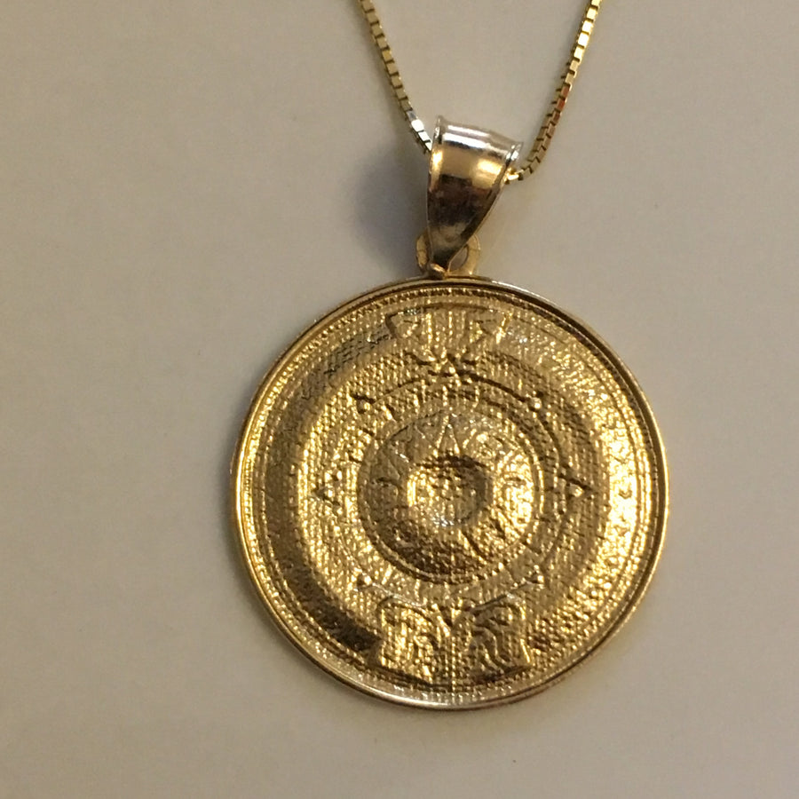 14K Gold Aztec Calendar Medallion Medium Size Pendant